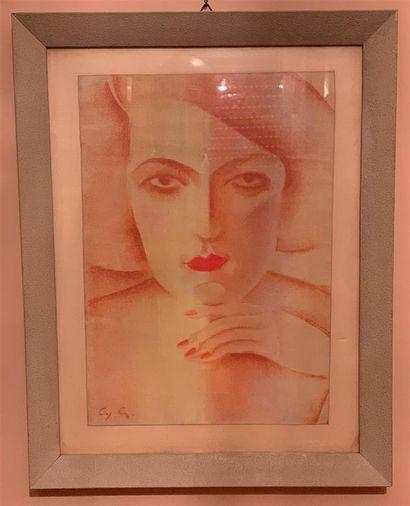 Ecole FRANCAISE vers 1930  Buste de femme...