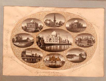 Miniature ovale représentant neuf vues de...