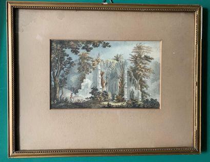 Ecole du XIXe siècle  Paysages animés de ruines  Paire d'aquarelles  12 x 20 cm...