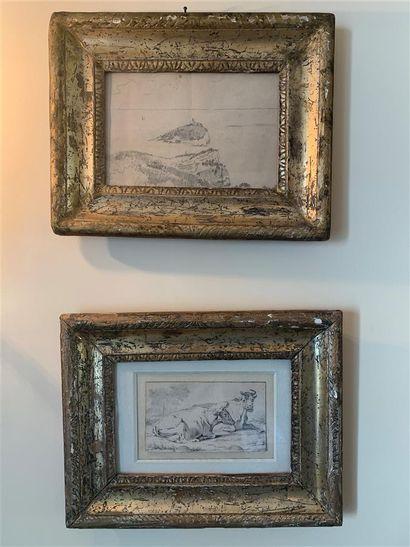 Deux dessins et deux estampes encadrés représentant...