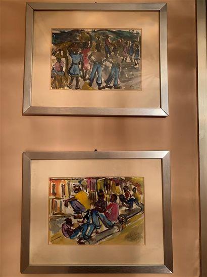 Ecole du XXe siècle  Haïti  Quatre aquarelles...