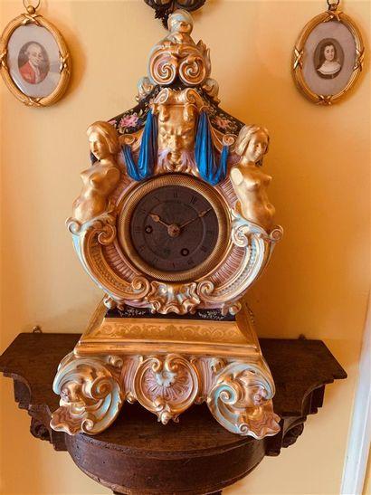 Jacob PETIT (1796-1868)  Pendule en porcelaine...