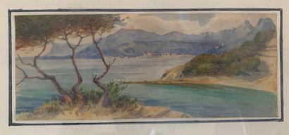 Ecole du XXe siècle  Bord de mer en Méditerranée...