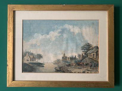 Ecole du début du XIXe siècle  Paysage animé...