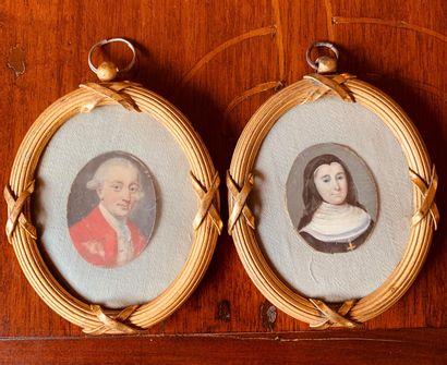 Deux miniatures peintes, l'une représentant...