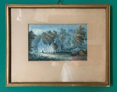 Ecole du XIXe siècle  Paysages animés de...