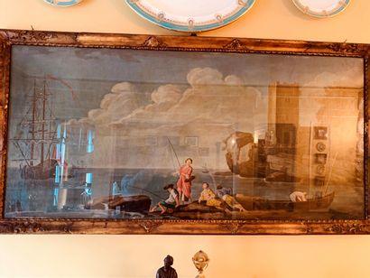 Ecole du XVIIIe siècle  Pêcheurs en bord...