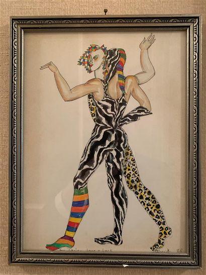 Ecole du XXe siècle  Danseurs  Encre et aquarelle...
