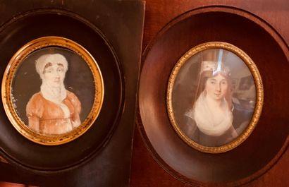 Deux miniatures représentant des portraits...