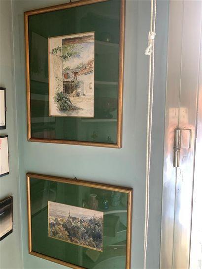 Ecole du XXe siècle  Deux aquarelles représentant...