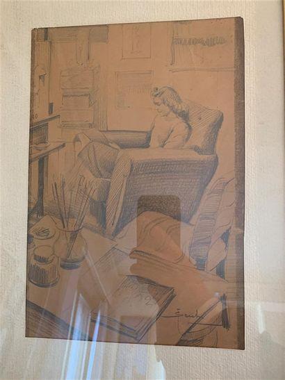 Ecole du XXe siècle  Femmes lisant dans un...
