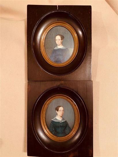 Deux miniatures peintes représentant chacune...