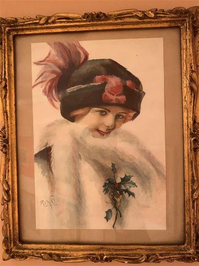 RINO (XXe)  Femme à la branche de houx  Aquarelle...