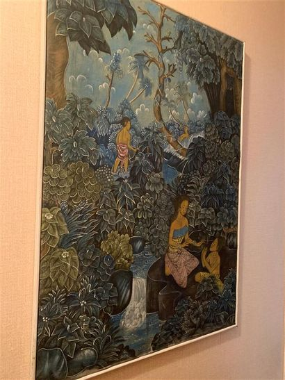 Ecole BALINAISE  Paysage animé  Tissu peint...