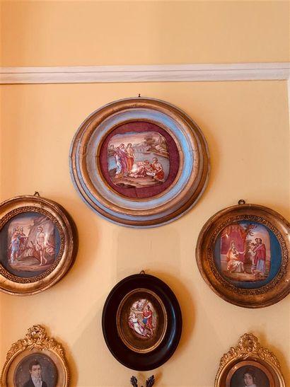 Quatre miniatures émaillées sur cuivre représentant...