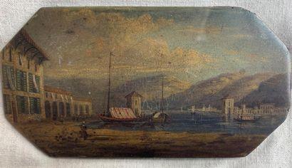 Ecole ETRANGERE du XIXe siècle  Port en bord...