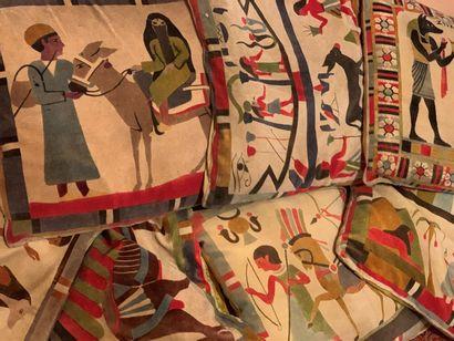 Sept coussins à décor égyptien  Provenance...