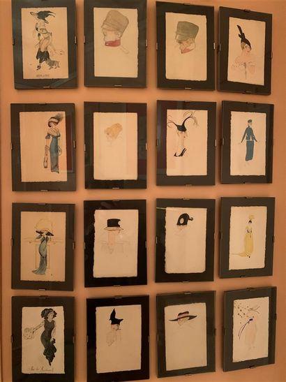Ecole FRANCAISE  Seize aquarelles et dessins...