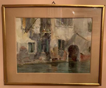 Ecole du XXe siècle  Paysages  Deux aquarelles...