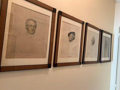 Quatre gravures représentant Goethe, Wagner,...