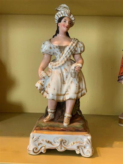 Statuette flacon en porcelaine polychrome...