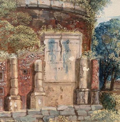 Ecole ANGLAISE de la fin du XVIIIe siècle  Mausolée à Pont Lucano de Marcus PLAUTIUS...