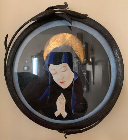BONETTI (XXe)  Vierge Marie en prière  Gouache...