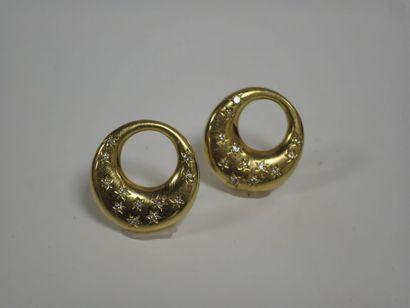 Paire d'anneaux en or jaune 18k (750 millièmes)...