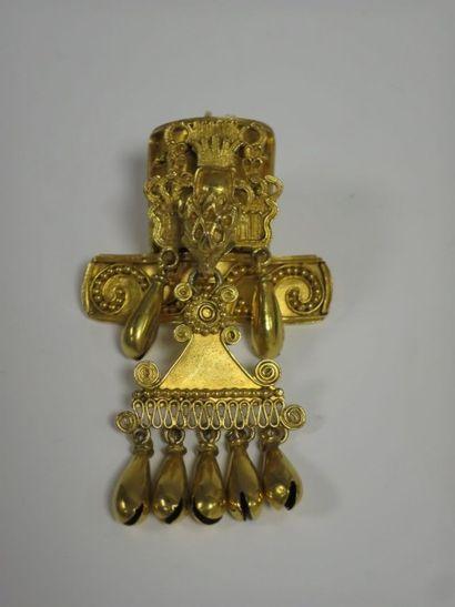 Pendentif broche en or jaune 14 k (585 millièmes)...
