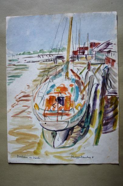 Philippe DAUCHEZ (1900 - 1984)  Voilier  Aquarelle...