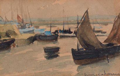 Henry Maurice CAHOURS (1889-1974)  Bâteaux au port  Aquarelle, signée en bas à droite...