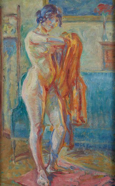 William MALHERBE (1884-1951)  Nu au manteau...