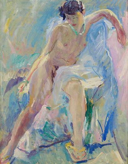 William MALHERBE (1884-1951)  Nu assis  Carton,...