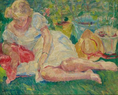 William MALHERBE (1884-1951)  Femme lisant...