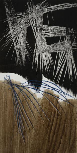 Hans HARTUNG (1904-1989) * T1975-H13, 1975 Pastel, acrylique et encre sur panneau...