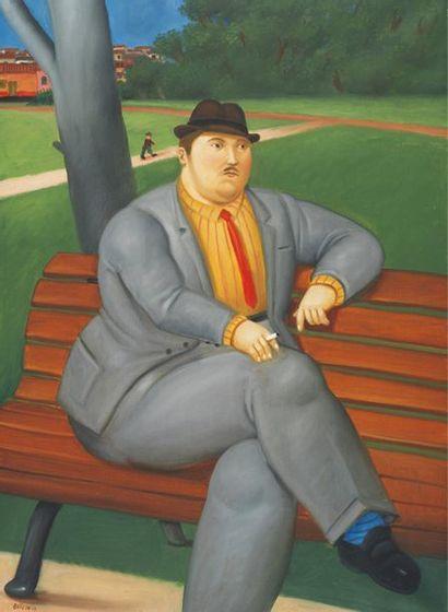 Fernando Botero (né en 1932) HOMME SUR UN BANC, 2011 Huile sur toile Signée et datée...