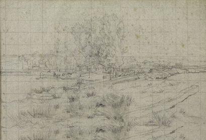 Léon LHERMITTE (Mont-Saint-Père 1844 - ? 1925) Etude pour le flottage du bois Crayon...