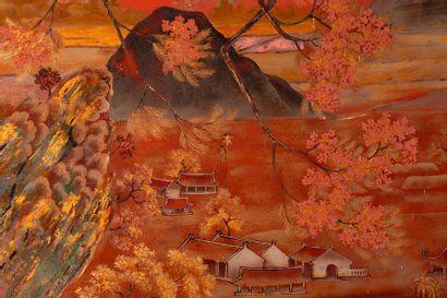 DINH VAN DAN (XXe siècle) La pagode thay  Important panneau en bois laqué, signé...