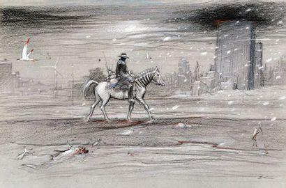 BILAL, Enki (1951) Animal'z Panneau en sérigraphie et rehaussé aux pastels par l'artiste....