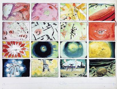 Moebius (Jean Giraud, 1938-2012). Dune Encre de Chine et encres de couleur pour la...