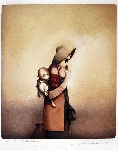DAUTREMER, Rébecca (1971) Agar portant l'enfant Illustration extraite de la magnifique...