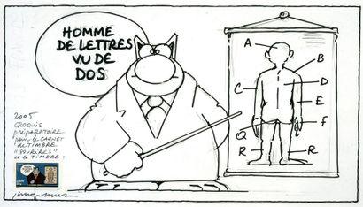 Geluck, Philippe (1954) Homme de lettres vu de dos. Mine de plomb et feutre noir,...