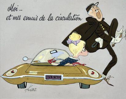 KIRAZ (Edmond Kirazian, dit-1925) Moi et mes ennuis de circulation Rare Illustration...