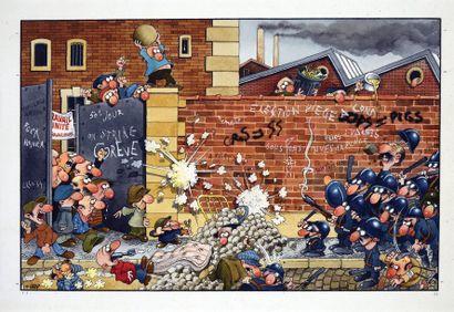 LOUP, Jean-Jacques (1936-2015) En grève. Encre de Chine et encres de couleurs pour...