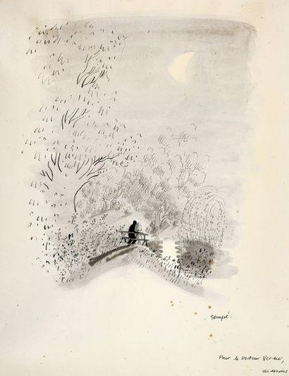 Sempé, Jean-Jacques (1935) Les amoureux de Sempé. Encre de Chine, lavis noir et mine...