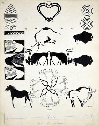 JOUBERT, Pierre (1910-2003) 5 illustrations destinées à être imprimées en bichromie...
