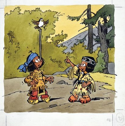 DERIB (Claude de Ribeaupierre, dit-1944) Yakari et l'oiseau moqueur. Encre de Chine...