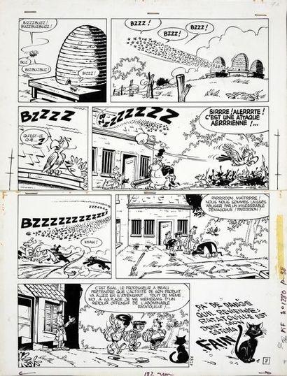 GREG (Michel Regnier, dit. 1931-1999) Les AS. Mort aux rats. Encre de Chine et calques...
