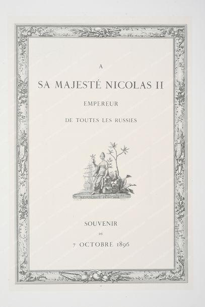 [CÉRÉMONIE DE LA POSE DE LA PREMIÈRE PIERRE DU PONT ALEXANDRE III]. À Sa Majesté...