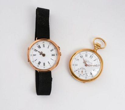 Lot composé d'une montre de col et d'une...
